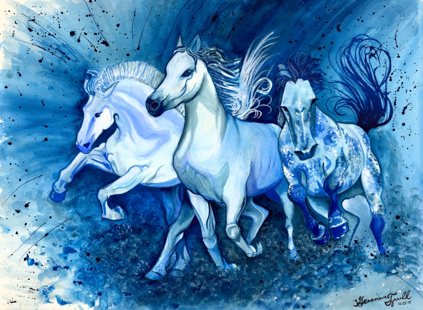 Blue Horses by Genevieve Anna Tyrrell; for more information, visit http://therealgenevievetyrrell.com/
