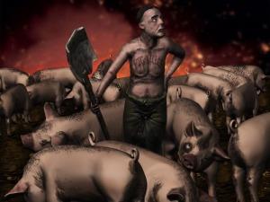 """""""The Pig Killer"""" by  Beholder; for more information, visit  http://www.conceptart.org/forums/member.php/143262-Beholder"""