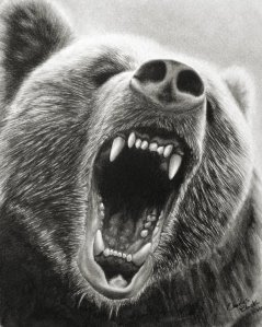 Grizzly Roar, Part 2 by Chuck Black; for more information, visit  http://www.wildlifeandart.com/