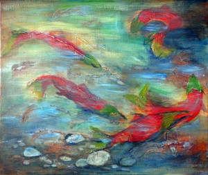 Sockeye Salmon Run by Ria Carpay; for more information, visit  http://www.northokanaganfcaartists.com/ria-carpay.html