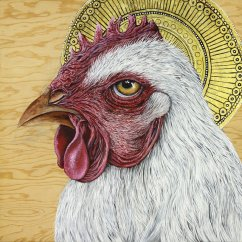 St. Cornish: Patron Saint of Broilers by Skee Goedhart; for more information, visit https://www.etsy.com/shop/SkeeGoedhartFineArt