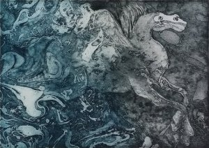 Horse Etching by Rita Schulman; for more information, visit https://www.etsy.com/il-en/shop/Shulmans